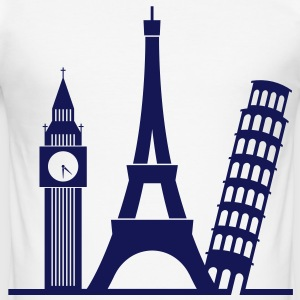 Europa / London / Paris / Pisa T-skjorter - Slim Fit T-skjorte for menn