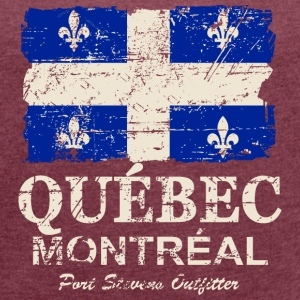 Québec  Flag - Canada - Vintage Look T-Shirts - Women's T-shirt with rolled up sleeves