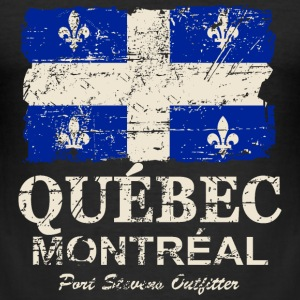 Québec  Flag - Canada - Vintage Look T-shirts - Slim Fit T-shirt herr