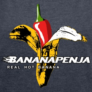 Bananapenja White Text T-Shirts - Women's T-shirt with rolled up sleeves