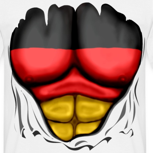 Germany Flag Ripped Muscles six pack chest t-shirt
