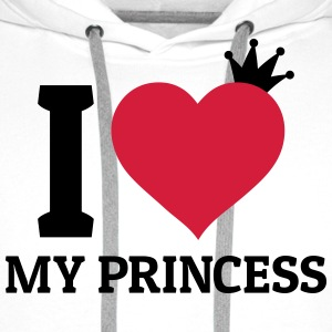 I love my Princess je t'aime ma princesse Sweat-shirts - Sweat-shirt à capuche Premium pour hommes
