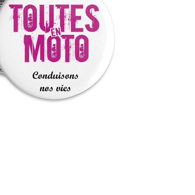 "Badge Blanc Logo Rose ""Conduisons nos vies"" - Pack de 5"