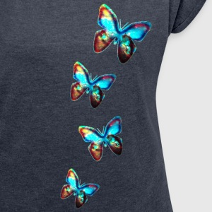 GALACTIC BUTTERFLY, Cosmos, Butterflies, Galaxy T-Shirts - Women's T-shirt with rolled up sleeves