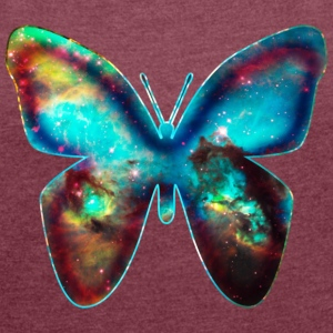 GALACTIC BUTTERFLY, Cosmos, Outerspace, Galaxy T-Shirts - Women's T-shirt with rolled up sleeves