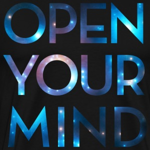 OPEN YOUR MIND, galakse, univers, meditation T-shirts - Herre premium T-shirt