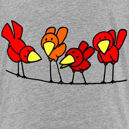 Quatre oiseaux sur unfil