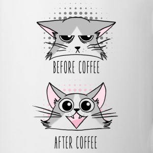 Grumpy and Happy cats before and After Coffee Bouteilles et Tasses - Tasse