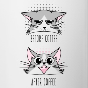Grumpy and Happy cats before and After Coffee Bouteilles et Tasses - Tasse bicolore