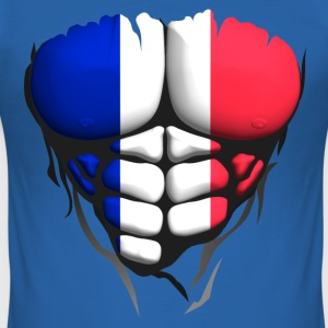 french flag torso body muscle abdos T-Shirts - Men's Slim Fit T-Shirt