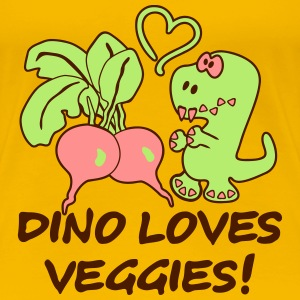 Dino Loves Veggies Radish T-Shirts - Women's Premium T-Shirt