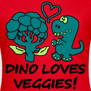 Dino Loves Veggies Broccoli T-shirts - Dame-T-shirt