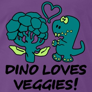Dino Loves Veggies Broccoli T-Shirts - Men's Premium T-Shirt