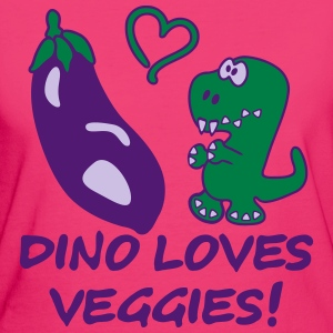 Dino Loves Veggies Eggplant T-Shirts - Women's Organic T-shirt