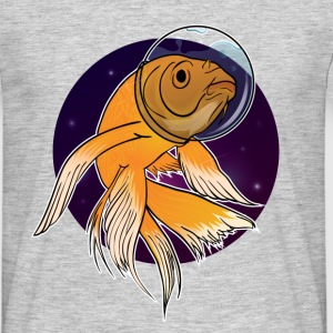 Grå meleret Fish in Space T-shirts - Herre-T-shirt