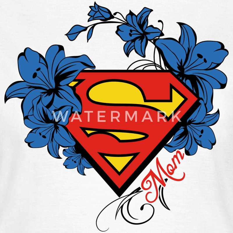 Superman Super Mom Flowers Red - Frauen T-Shirt