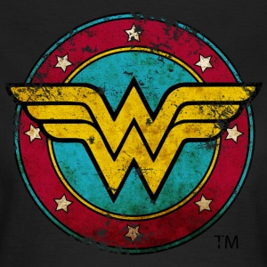 Wonder Woman Logo Distressed Dame T-Shirt - Dame-T-shirt