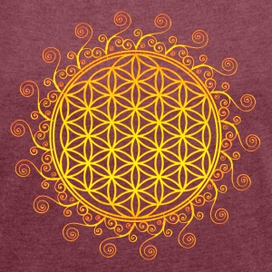 FLOWER OF LIFE, SPIRITUAL SYMBOL, SACRED GEOMETRY  - Women's T-shirt with rolled up sleeves