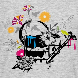 Sheet metal watering can with flowers and butterfl T-Shirts - Men's T-Shirt