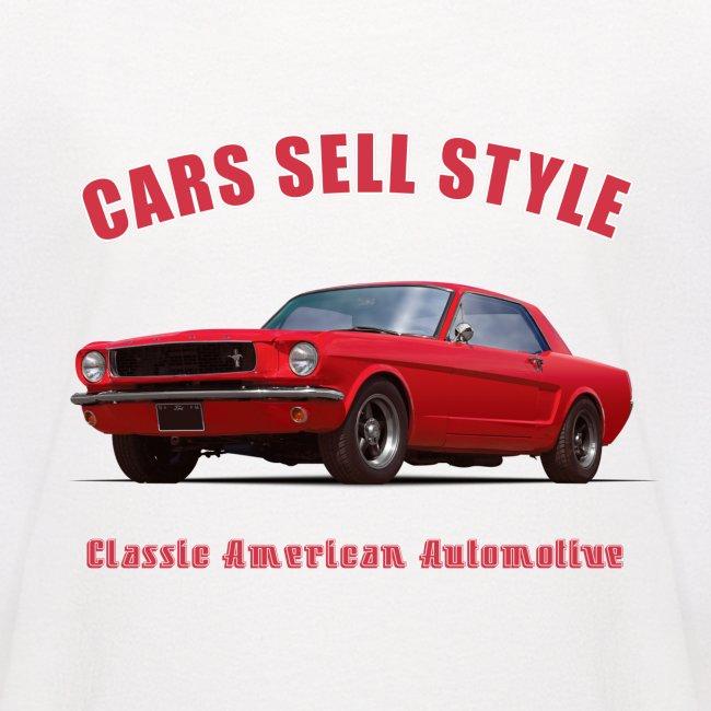 Kids baseball t-shirt | 65 Red Mustang | Classic American Automotive