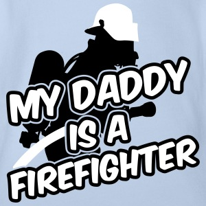 My daddy is a firefighter Camisetas - Body orgánico de maga corta para bebé