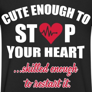 Cute enought to stop your heart - Paramedic T-skjorter - T-skjorte med V-utsnitt for menn