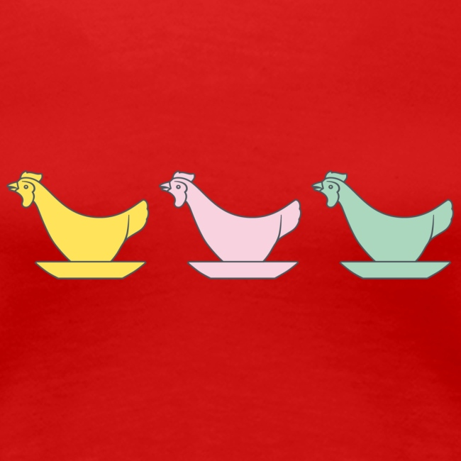 DDR Chicken Egg Cups - Woman's Premium T-Shirt