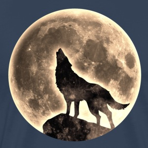 Howling Wolf, full moon, wolves, native, Indians T - Men's Premium T-Shirt