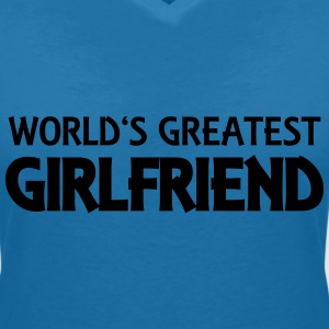 World's greatest girlfriend T-skjorter - T-skjorte med V-utsnitt for kvinner