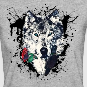 Wolf with Rose, Love Symbol, Varg, Freedom,  T-shirts - Ekologisk T-shirt dam