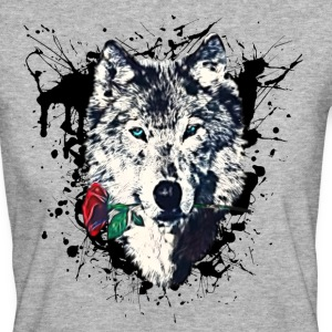 Wolf with Rose, Love Symbol, Loup, Freedom,  Tee shirts - T-shirt Bio Femme