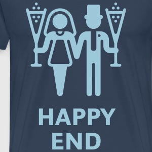 Happy End (Wedding / Marriage / Champagne) T-Shirts - Men's Premium T-Shirt