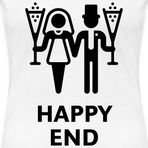 Happy End (Wedding / Marriage / Champagne) T-Shirts - Women's Premium T-Shirt