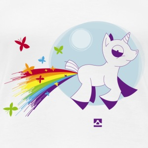 Rainbow unicorn and butterflies - Women's Premium T-Shirt