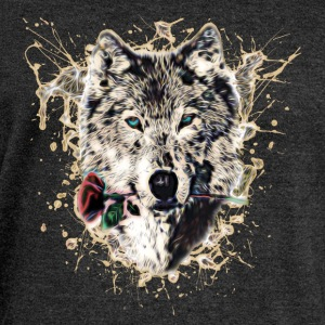 Wolf with Rose, Love Symbol, Wolves, Nature Hoodies & Sweatshirts - Women's Boat Neck Long Sleeve Top