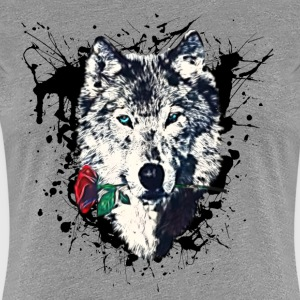 Wolf with Rose, Love Symbol, Ulv, Freedom,  T-shirts - Dame premium T-shirt