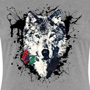 Wolf with Rose, Love Symbol, Wolves, Freedom,  T-shirts - Vrouwen Premium T-shirt