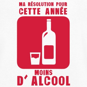 resolution annee moins alcool bouteille Tee shirts - T-shirt Homme col V