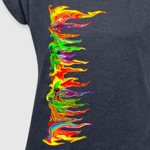 Color your life! colour, party, music, trance, goa - Women's T-shirt with rolled up sleeves