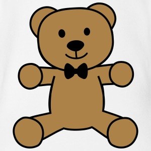 teddy bear with bow tie teddybeer met strikje Shirts - Baby bio-rompertje met korte mouwen