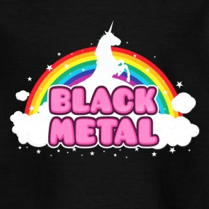 BLACK METAL - Funny / Unicorn - Rainbow - parodie T-Shirts - Kinder T-Shirt