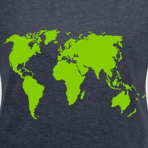 Earth, world map T-Shirts - Women's T-shirt with rolled up sleeves