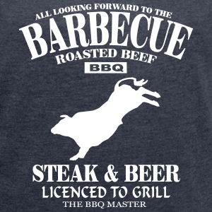Barbecue - BBQ T-shirts - Dame T-shirt med rulleærmer