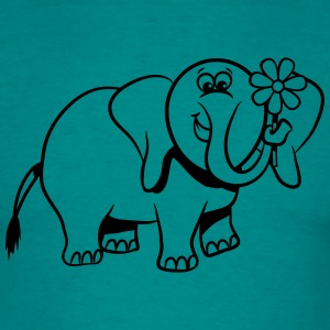 Olifant zoete grappige strip T-shirts - Mannen T-shirt