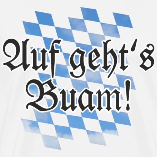 Auf geht's Buam Bayern Spruch mit Rauten