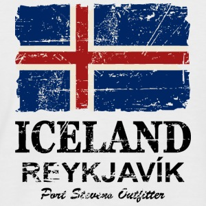 Iceland Vintage Flag Tee shirts - T-shirt baseball manches courtes Homme