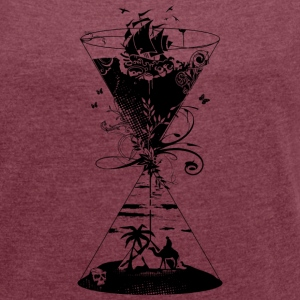 surreal hourglass ocean and desert- T-Shirts - Women's T-shirt with rolled up sleeves