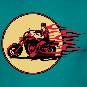 Motorcycle chopper cool steel helmet fire T-Shirts - Men's T-Shirt