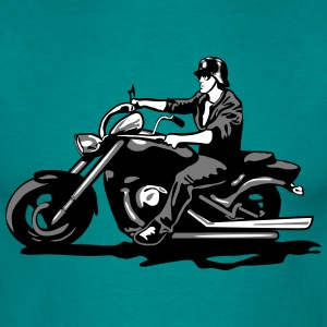 Motorcycle chopper cool steel helmet T-Shirts - Men's T-Shirt