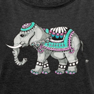 Indian Elephant, nature, animal, wild, design T-Shirts - Women's T-shirt with rolled up sleeves
